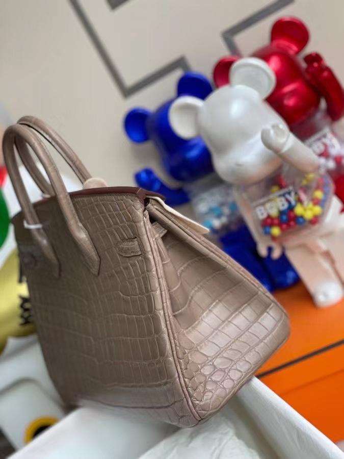 Hermès(爱马仕)Birkin 铂金包 crocodile matt 雾面鳄鱼 ck18 大象灰 etoupe 25cm 金扣 顶级手缝 定制