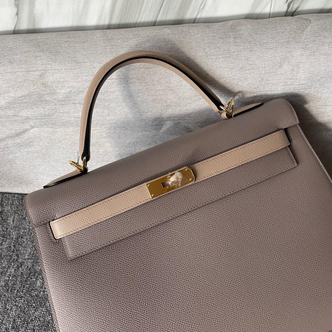 Hermès(爱马仕)Kelly 凯莉包 Epsom 原厂掌纹皮 M8 沥青灰 风衣灰 32cm 金扣 马蹄印 顶级手缝