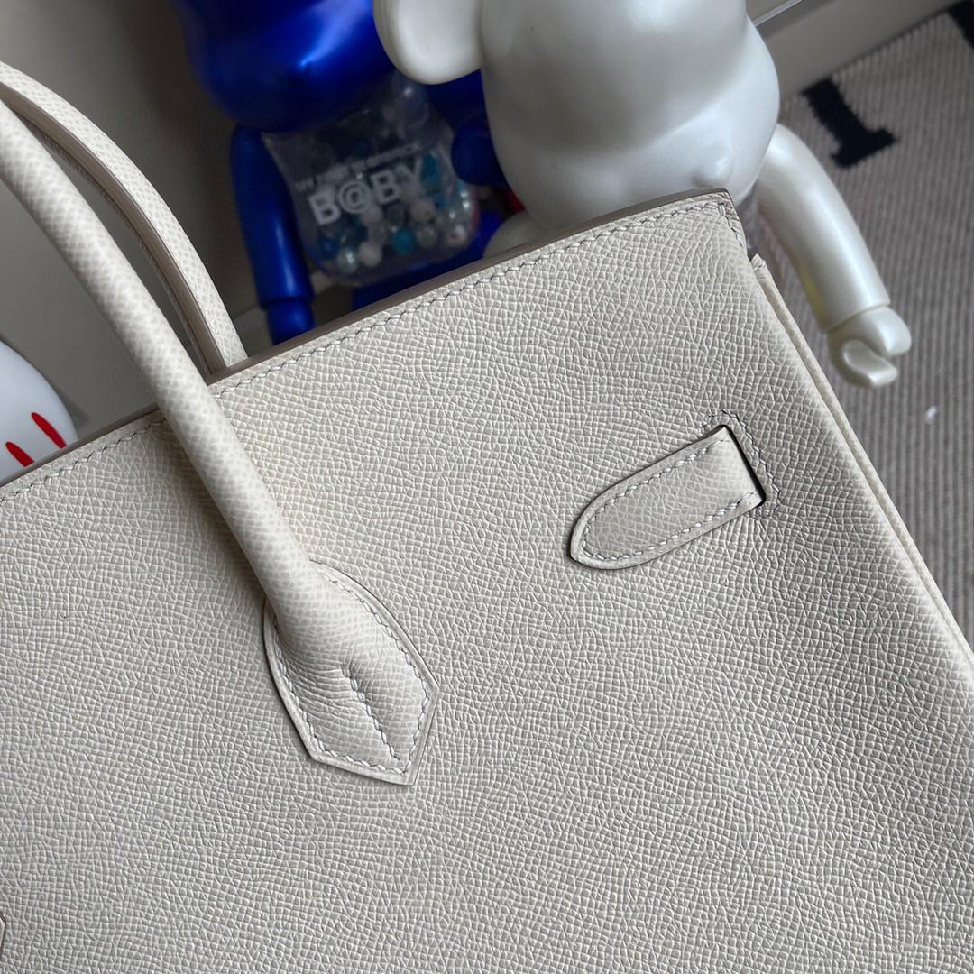 Hermès(爱马仕)Birkin 铂金包 Epsom 原厂掌纹皮 ck10 奶昔白 Craie 金扣 35cm 顶级手缝 定制