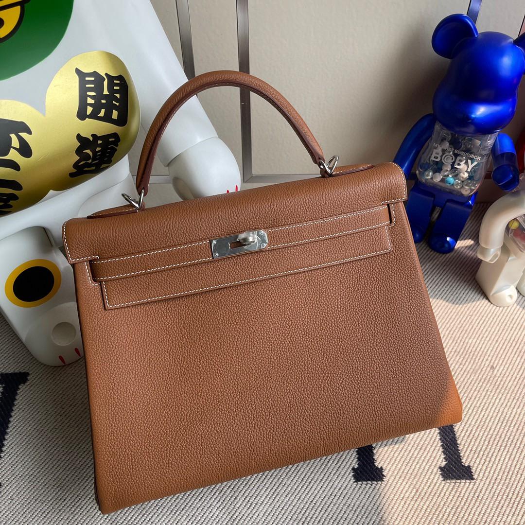Hermès(爱马仕)Kelly 凯莉包 原厂小牛皮 ck37 金棕色 Gold 银扣 32cm 现货