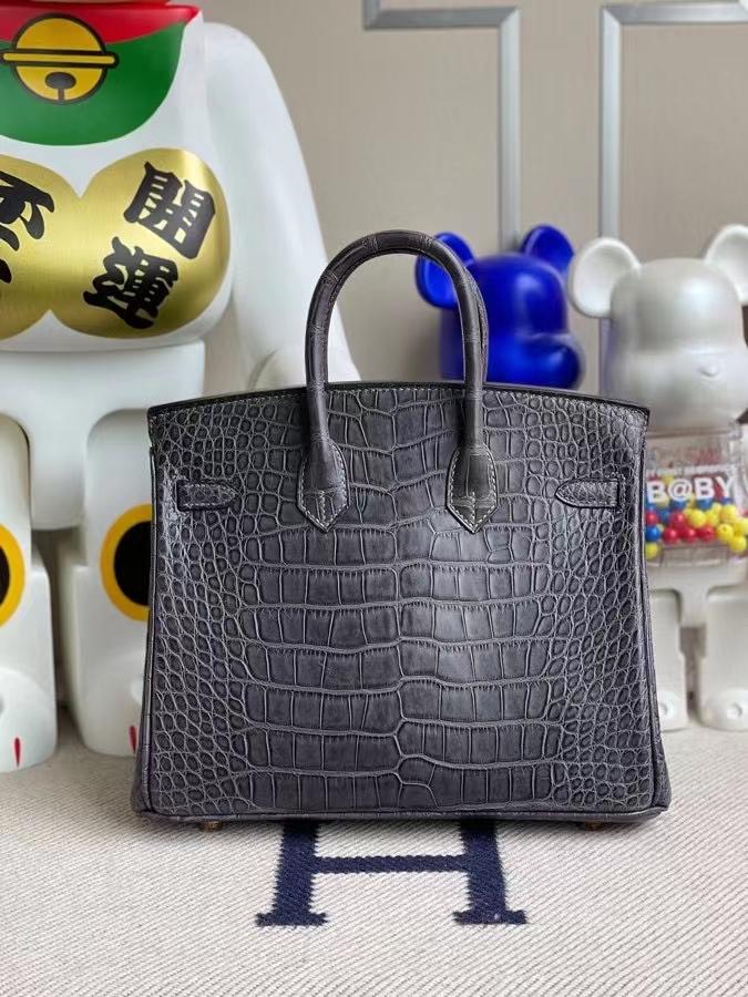 Hermès(爱马仕)Birkin 铂金包 Alligator matt 雾面鳄鱼 ck88 石墨灰 Graphite 金扣 25cm 顶级手缝