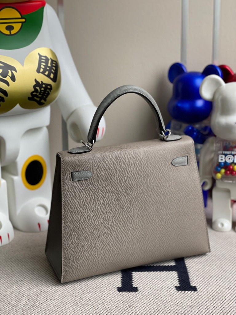 Hermès(爱马仕)Kelly 凯莉包 Epsom 原厂掌纹皮 m8 沥青灰拼海鸥灰 银扣 25cm 马蹄印 顶级手缝