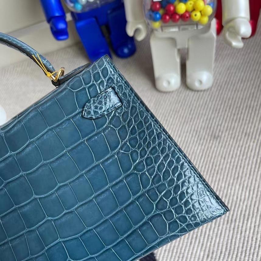 Hermès(爱马仕)Mini kelly ll Alligator shiny 亮面鳄鱼 1p 鸭子蓝 金扣 顶级手缝 现货