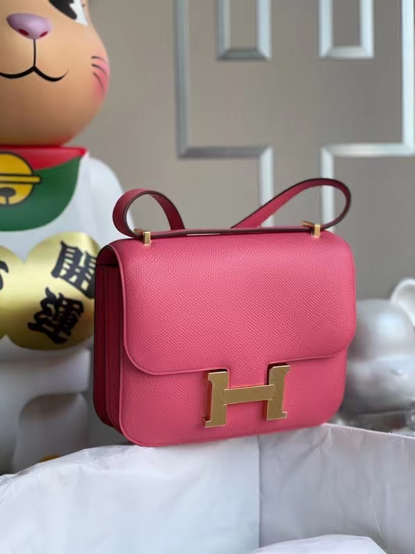 Hermès(爱马仕)Constance 空姐包 Epsom 原厂掌纹皮 8w 唇膏粉 金扣 24cm 顶级手缝