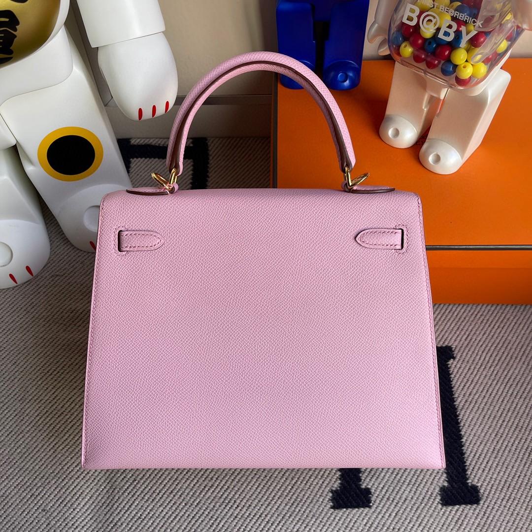 Hermès(爱马仕)Kelly 凯莉包 原厂掌纹皮 Epsom X9 锦葵紫 金扣 25cm 顶级手缝 现货