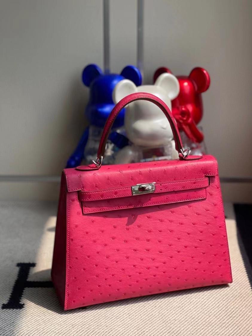Hermès(爱马仕)Kelly 凯莉包 Ostrich kk 鸵鸟 E5桃红 银扣 顶级手缝 定制 25cm