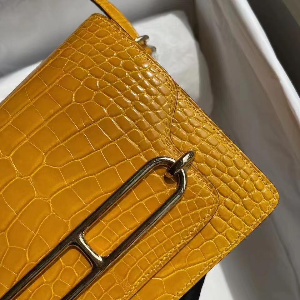 Hermès(爱马仕)Roulis 猪鼻子 Alligator shiny 亮面鳄鱼9D琥珀黄 Ambre 金扣 18cm 顶级手缝 定制