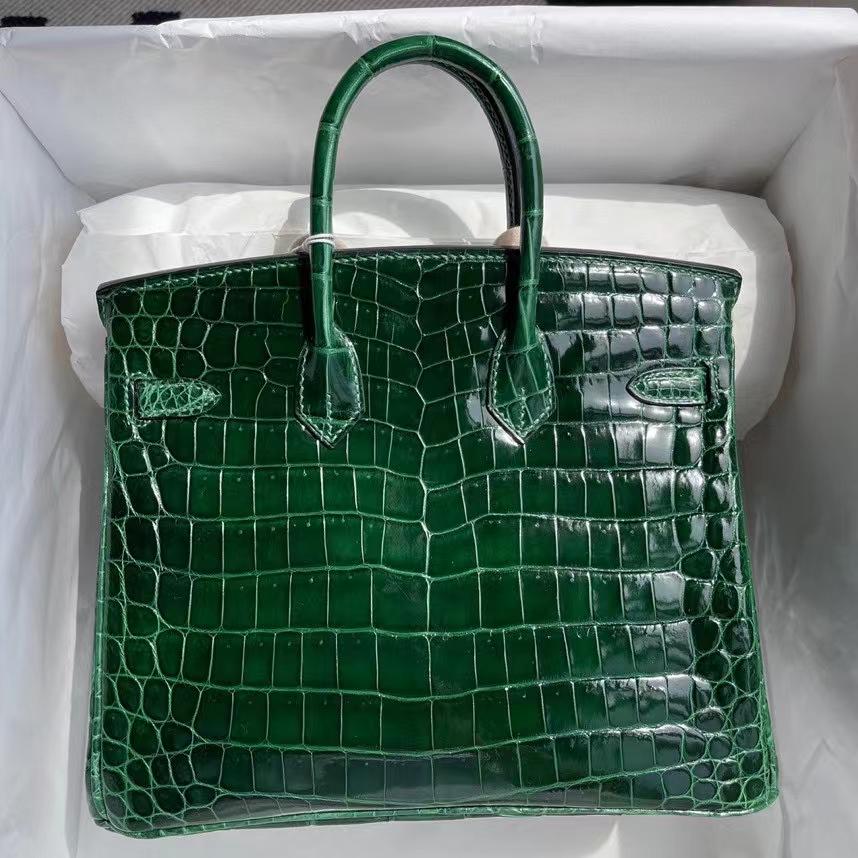 Hermès(爱马仕)Birkin 铂金包 Crocodile shiny 亮面鳄鱼 ck67 祖母绿 金扣 25cm 顶级手缝