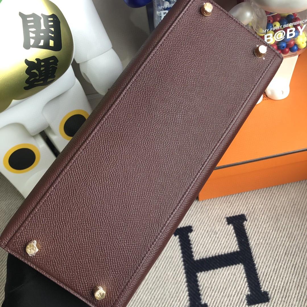 Hermès(爱马仕)Kelly 凯莉包 原厂掌纹皮 Epsom ck57 波尔多酒红 金扣 28cm 顶级手缝 现货