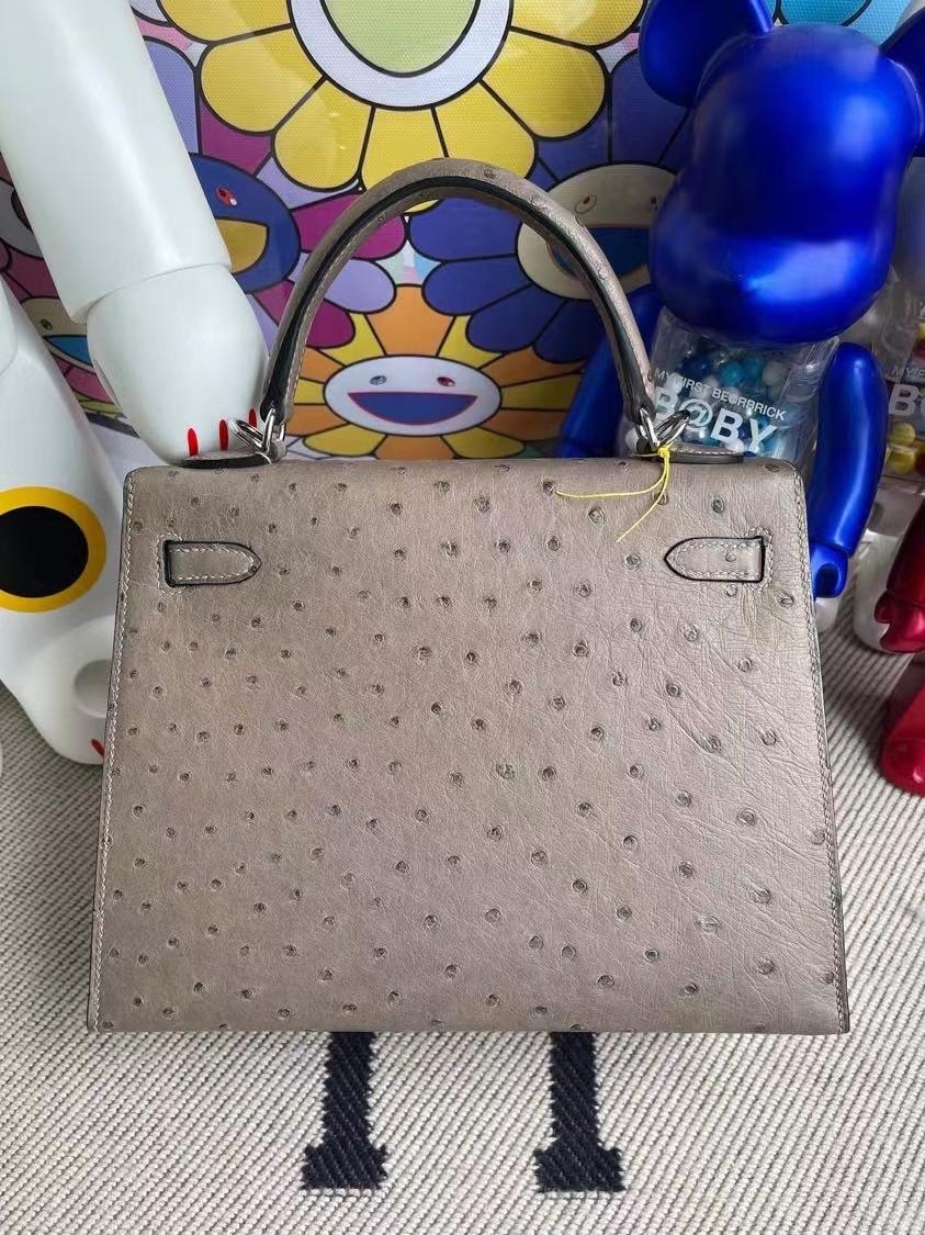 Hermès(爱马仕)Kelly 凯莉包 Ostrich kk鸵鸟 M8 沥青灰 gris ashpite 银扣 25cm 顶级手缝