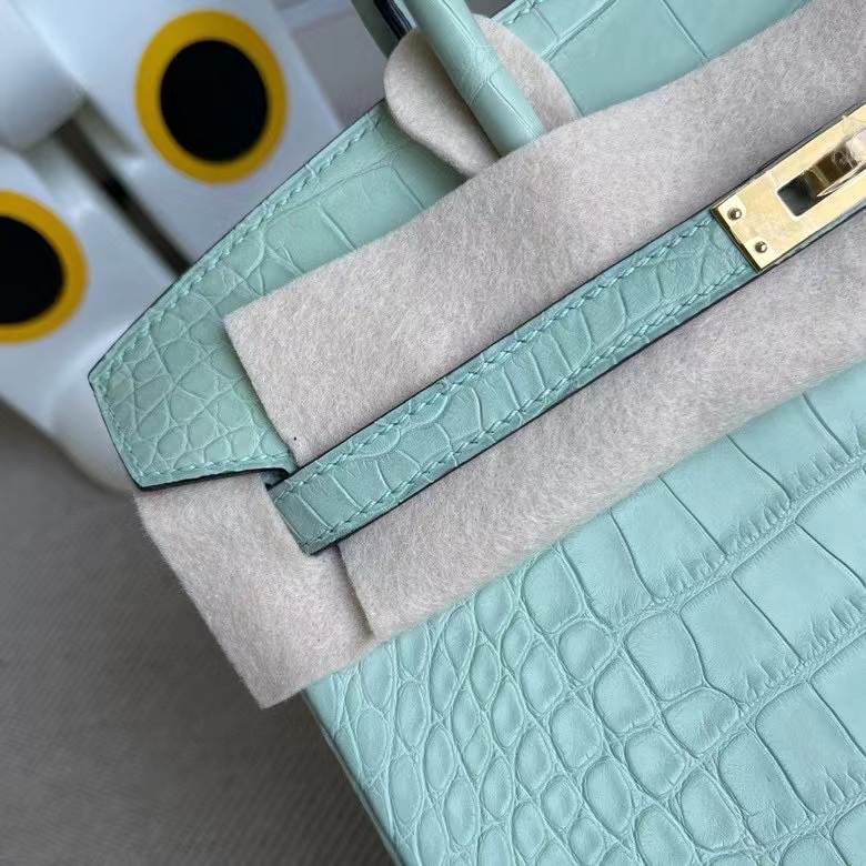 Hermès(爱马仕)Birkin 铂金包 Alligator matt 雾面鳄鱼 6U薄荷绿 金扣 25cm 顶级手缝 定制