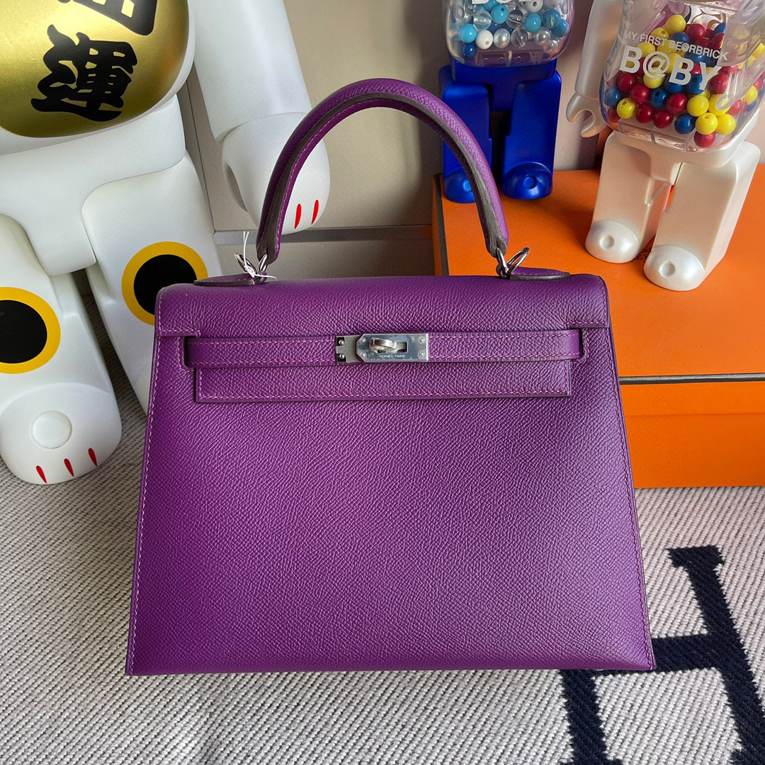 Hermès(爱马仕)Kelly 凯莉包 原厂掌纹皮 Epsom p9 海葵紫 Anemone 银扣 25cm 顶级手缝 现货