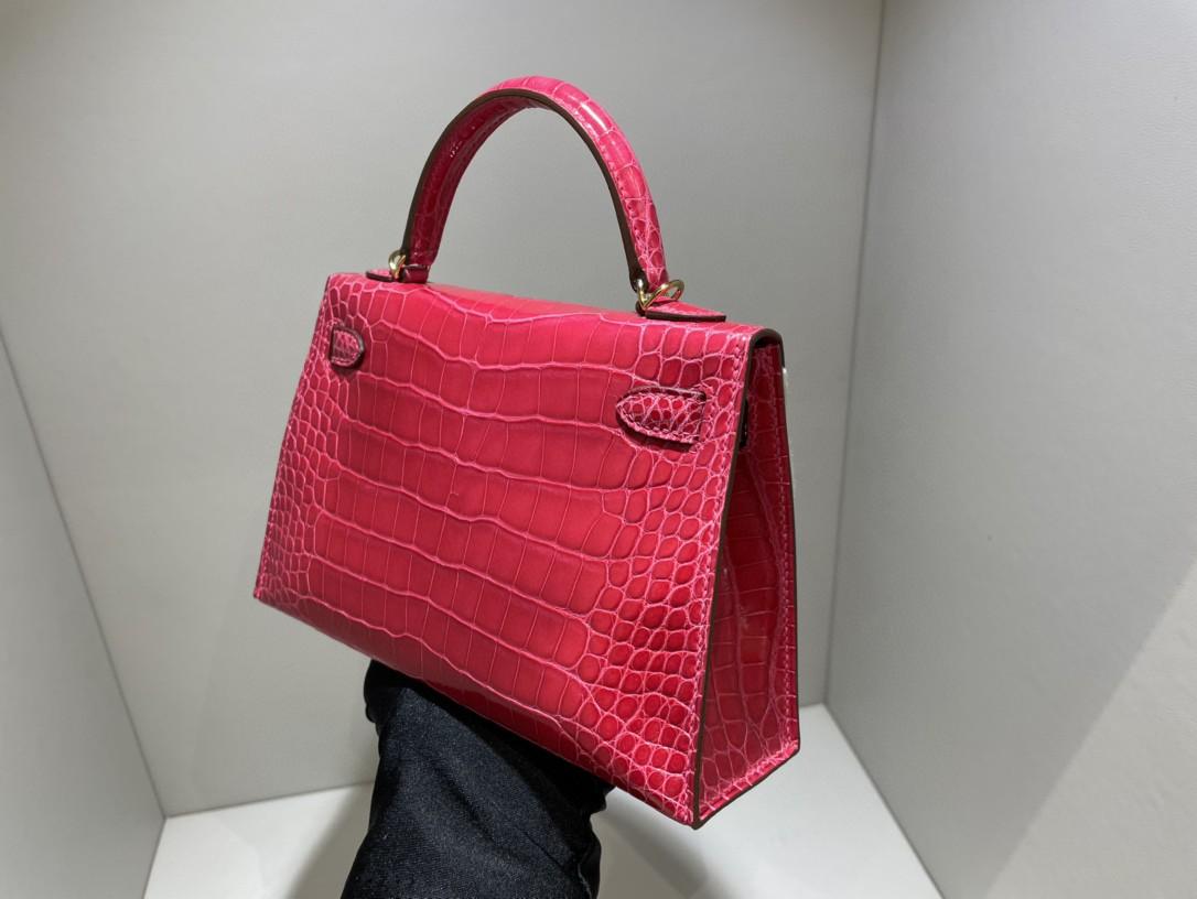 Hermès(爱马仕)Mini kelly ll Alligator shiny 亮面鳄鱼i6 极致粉 金扣 顶级手缝 现货