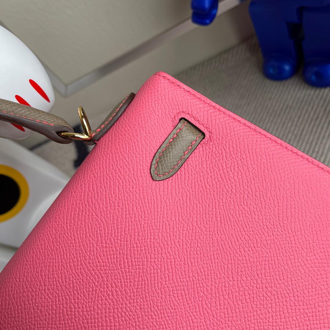 Hermès(爱马仕)Kelly 凯莉包 Epsom 原厂掌纹皮 8w 唇膏粉 拼 ck18大象灰 金扣 25cm 马蹄印 顶级手缝