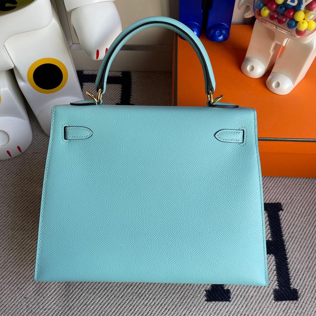Hermès(爱马仕)Kelly 凯莉包 原厂掌纹皮 Epsom 3p 马卡龙蓝 金扣 25cm 顶级手缝 现货