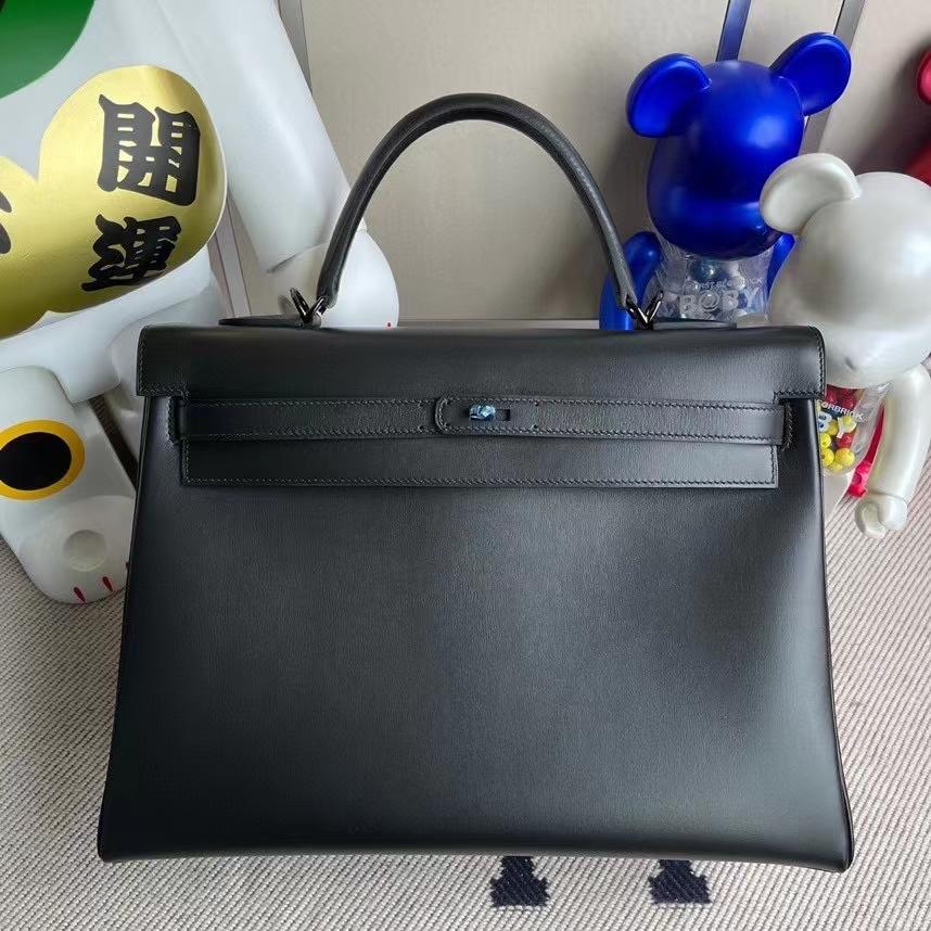 Hermès(爱马仕)Kelly 凯莉包 Boxcalf so black  黑色 黑扣 35cm 顶级手缝
