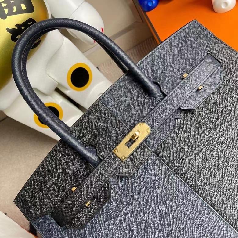 Hermès(爱马仕)Birkin 铂金包 Epsom 外缝 午夜蓝拼黑色内拼坦桑尼亚蓝 金扣 30cm 定制