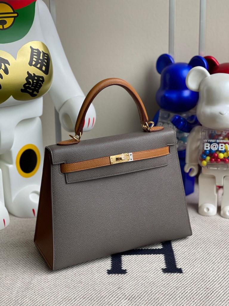 Hermès(爱马仕)Kelly 凯莉包 Epsom 原厂掌纹皮  8F锡器灰拼金棕 金扣 25cm 马蹄印 顶级手缝