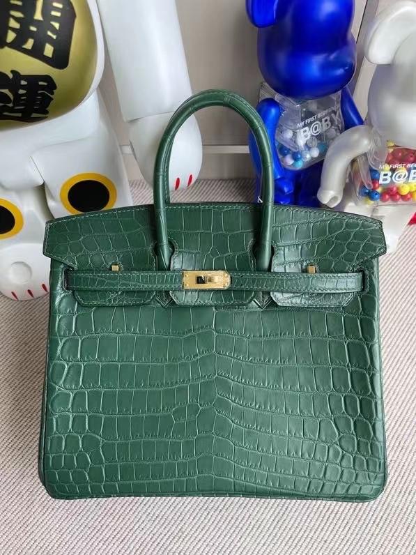 Hermès(爱马仕)Birkin 铂金包 Crocodile matt 雾面鳄鱼 翠绿色 金扣 25cm 顶级手缝