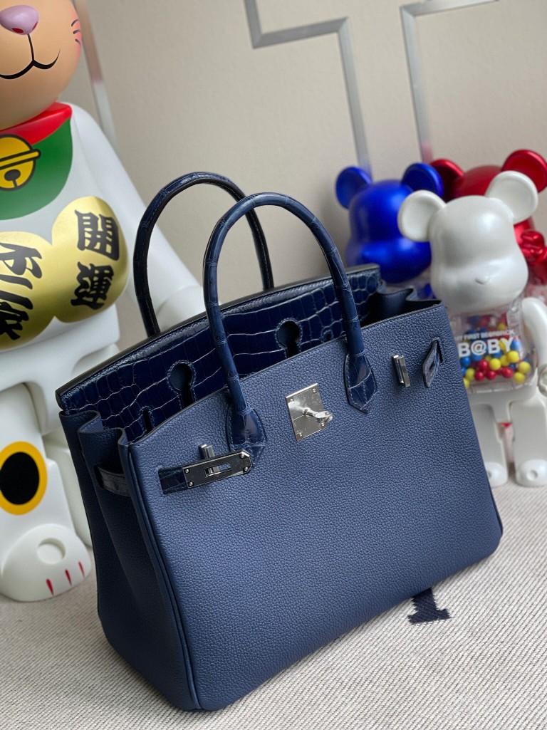 Hermès(爱马仕)Birkin 铂金包 Touch 系列 宝石蓝 拼鳄鱼皮 银扣 30cm 顶级手缝 定制