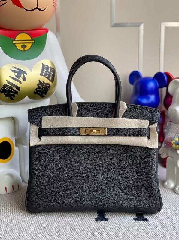 Hermès(爱马仕)Birkin 铂金包 原厂小牛皮 togo ck89 黑色 noir 金扣 30cm 现货