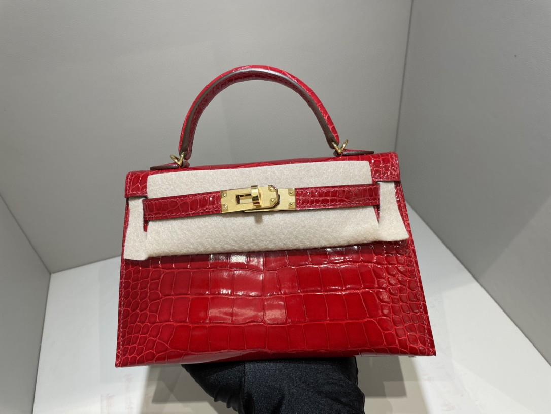 Hermès(爱马仕)Mini kelly ll Alligator  shiny 亮面鳄鱼ck95 法拉利红 Braise 金扣 顶级手缝 现货