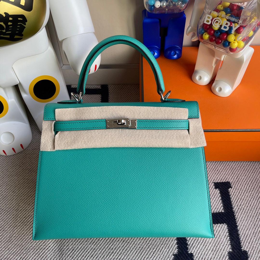 Hermès(爱马仕)Kelly 凯莉包 原厂掌纹皮 Epsom 维罗纳绿 银扣 25cm 顶级手缝 现货