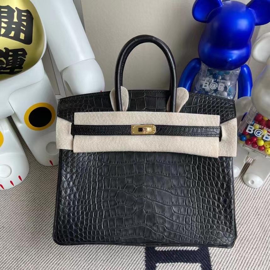 Hermès(爱马仕)Birkin 铂金包 Alligator matt 雾面鳄鱼 ck89 黑色 Noir 金扣 25cm 顶级手缝 定制
