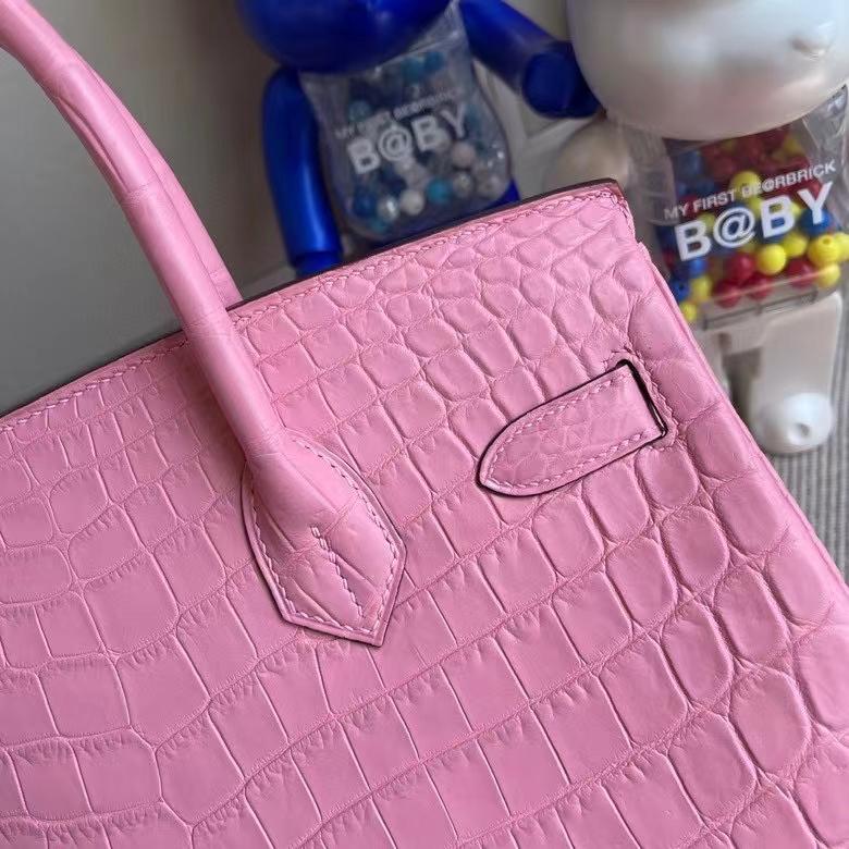 Hermès(爱马仕)Birkin 铂金包 Crocodile matt 雾面鳄鱼 5p 樱花粉 30cm 银扣 顶级手缝