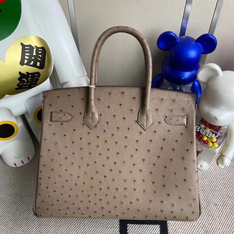Hermès(爱马仕)Birkin 铂金包 Ostrich kk鸵鸟 ck18 大象灰Etoupe 金扣 顶级手缝 30cm