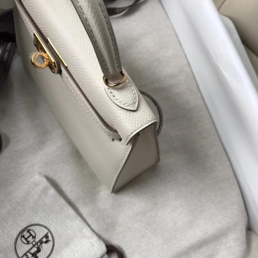 Hermès(爱马仕)Minikelly ll Epsom 原厂掌纹皮  ck10 奶昔白 Craie 金扣 现货