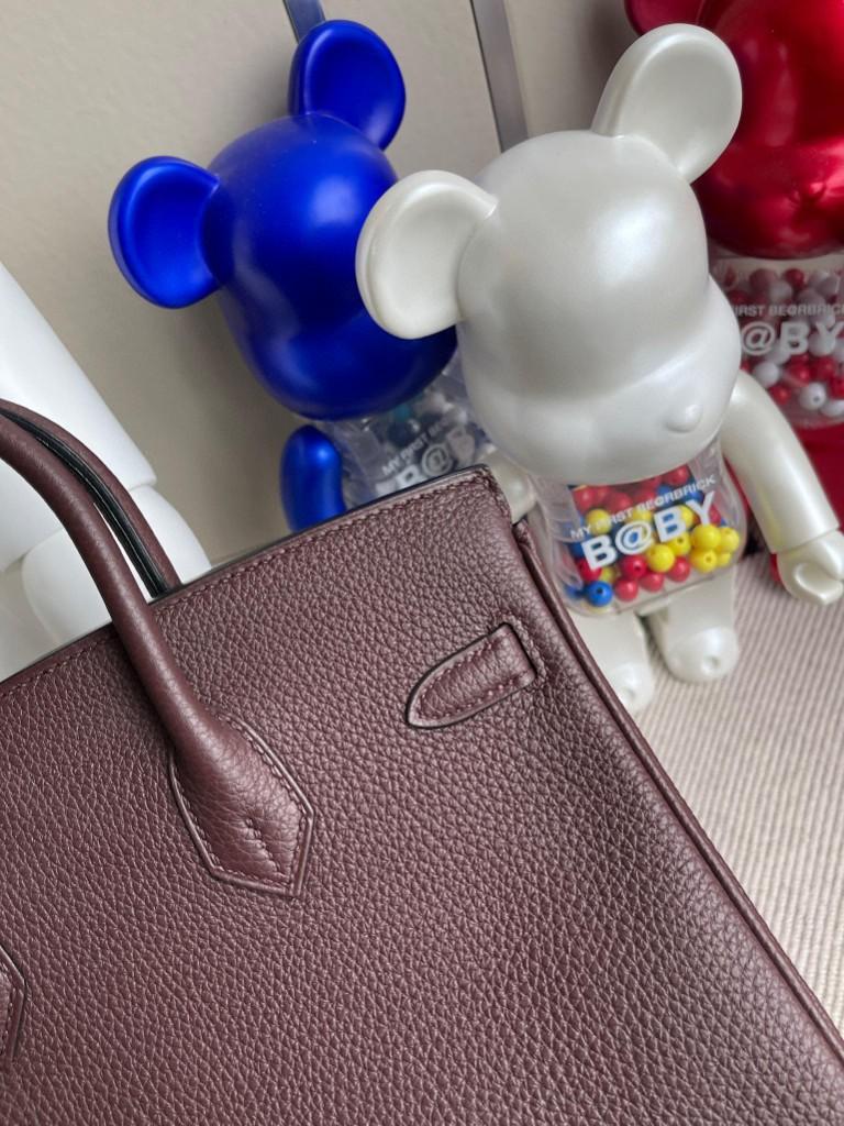 Hermès(爱马仕)Birkin 铂金包 原厂小牛皮 togo皮 0G 马鞍红 银扣 25cm