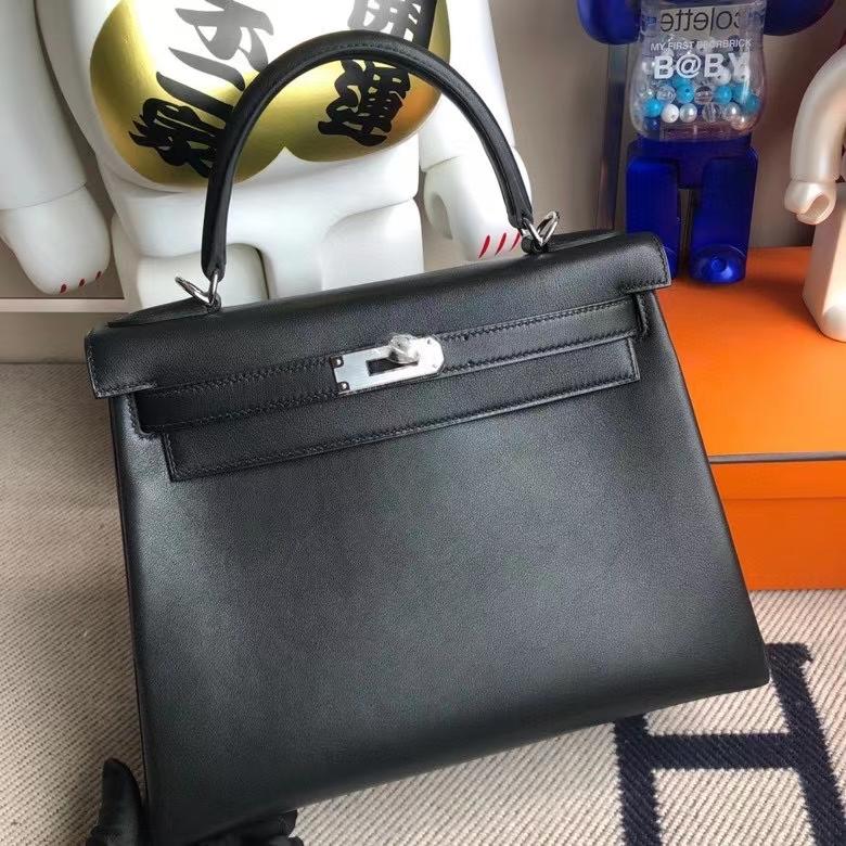 Hermès(爱马仕)Kelly 凯莉包 Swift 黑色noir 银扣 28cm 顶级手缝 现货