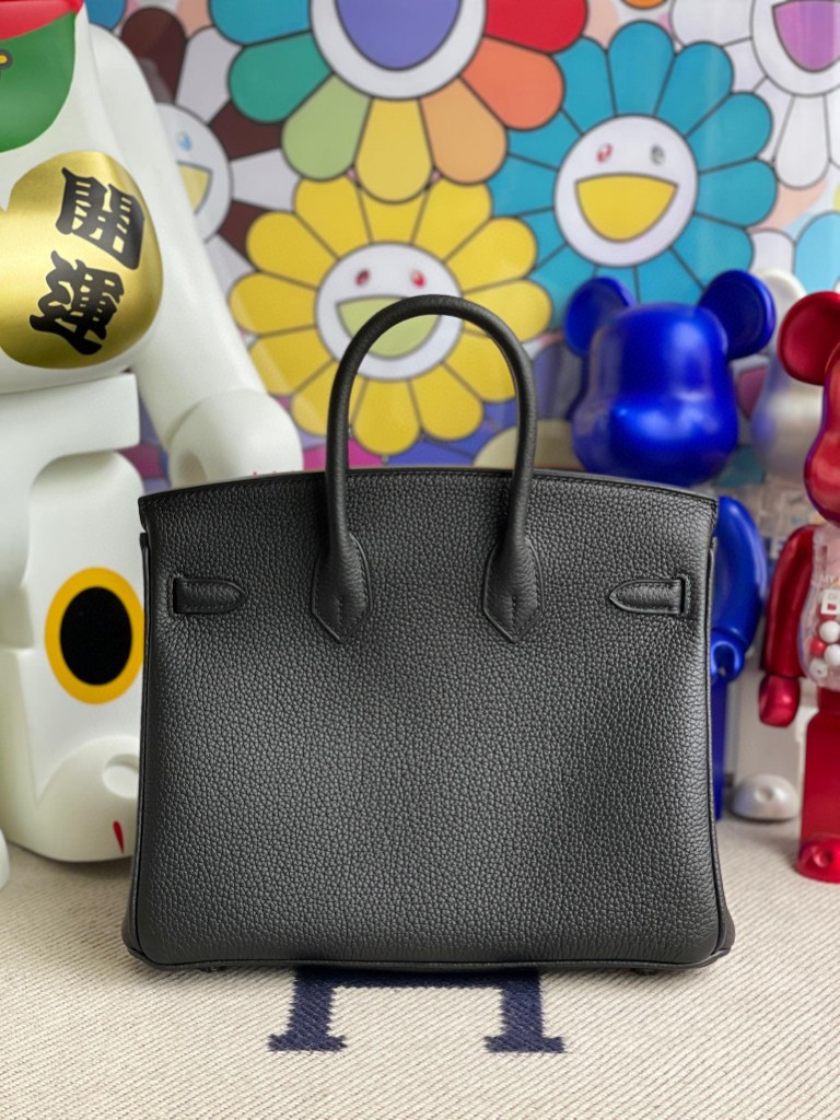 Hermès(爱马仕)Birkin 铂金包 原厂小牛皮 Togo ck89 黑色 Noir 银扣 25cm 顶级手缝