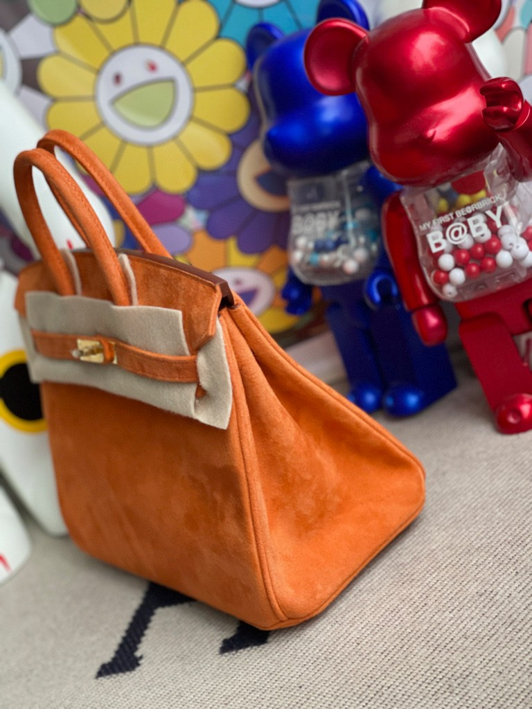 Hermès(爱马仕)Birkin 铂金包 麂皮 橙色 orange 金扣 25cm 顶级手缝