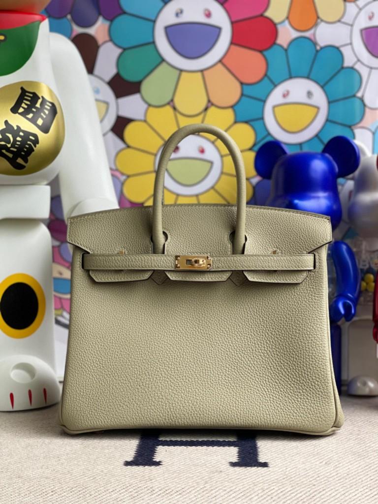 Hermès(爱马仕)Birkin 铂金包 原厂小牛皮 togo 鼠尾绿 金扣 25cm 顶级手缝 现货