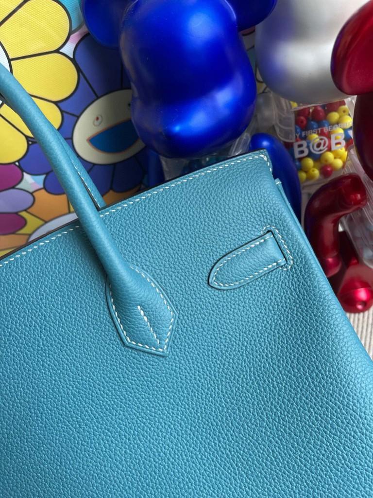 Hermès(爱马仕)Birkin 铂金包 原厂小牛皮 Togo ck75 牛仔蓝 Blue jean 银扣 30cm 顶级手缝