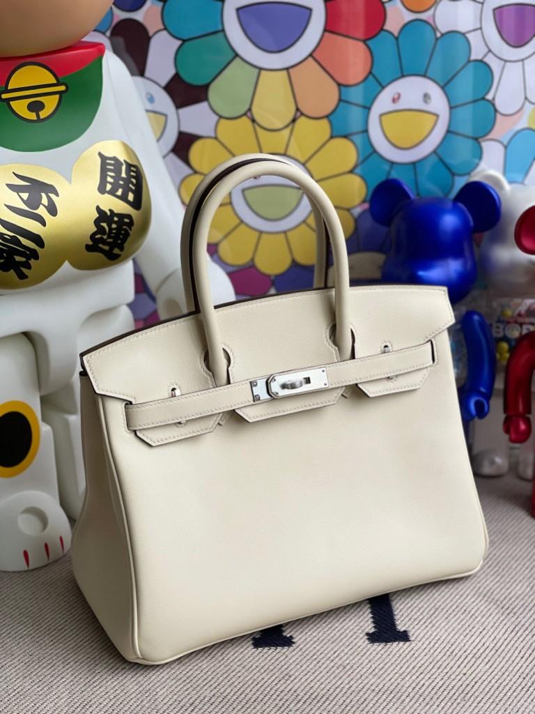 Hermès(爱马仕)Birkin 铂金包 Swift皮 nata 奶昔白 银扣 30cm 顶级手缝