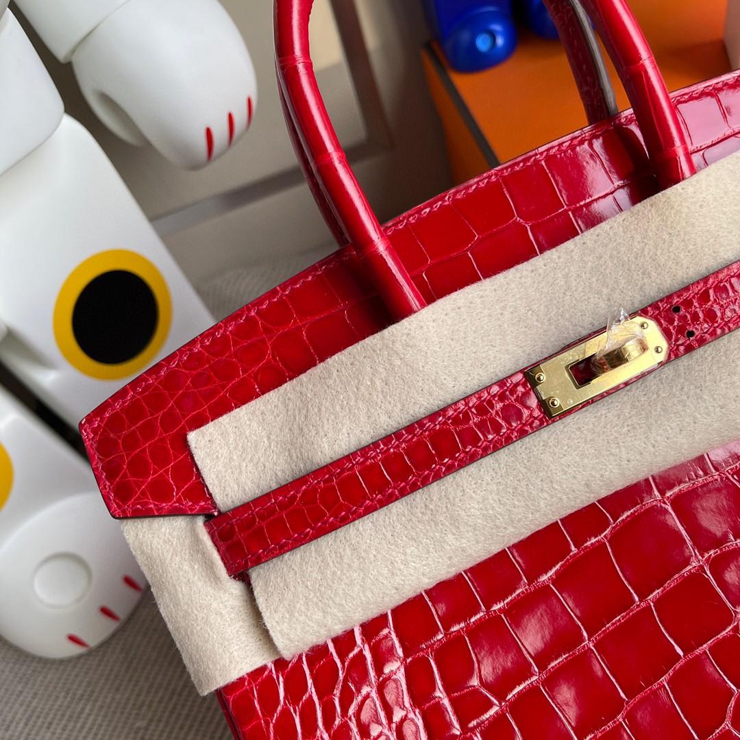 Hermès(爱马仕)Birkin 铂金包 Alligator shiny 亮面鳄鱼 ck95 法拉利红 Braise 金扣 25cm 顶级手缝 现货