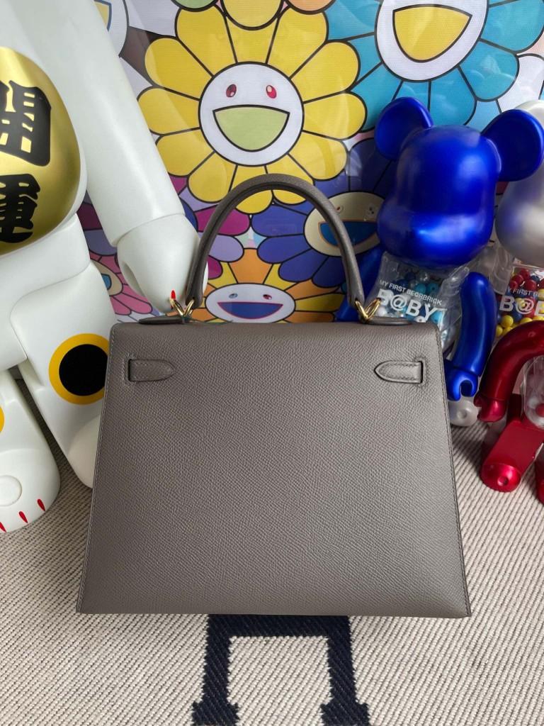 Hermès(爱马仕)Kelly 凯莉包 Epsom 原厂掌纹皮 etain 锡器灰 金扣 25cm 顶级手缝