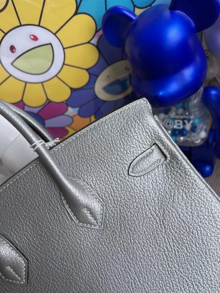 Hermès(爱马仕)Birkin 铂金包 Chevre 山羊皮 银色 银扣 25cm 顶级手缝