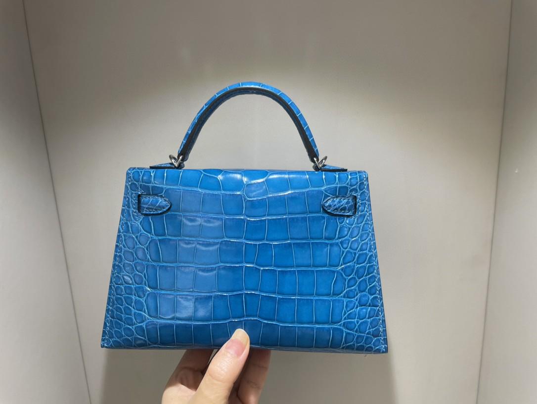 Hermès(爱马仕)Mini kelly ll Alligator shiny 亮面鳄鱼 7W 伊兹密尔蓝 银扣 顶级手缝 现货