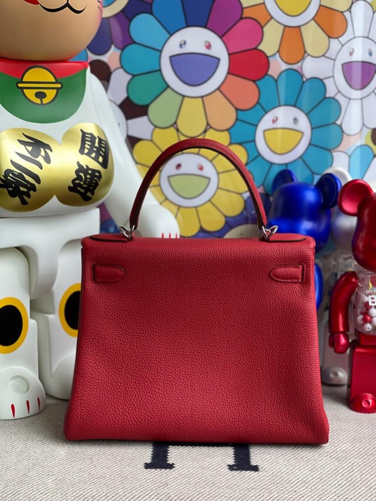 Hermès(爱马仕)Kelly 凯莉包 原厂小牛皮 Q5 国旗红 Rouge casaque 银扣 28cm 顶级手缝