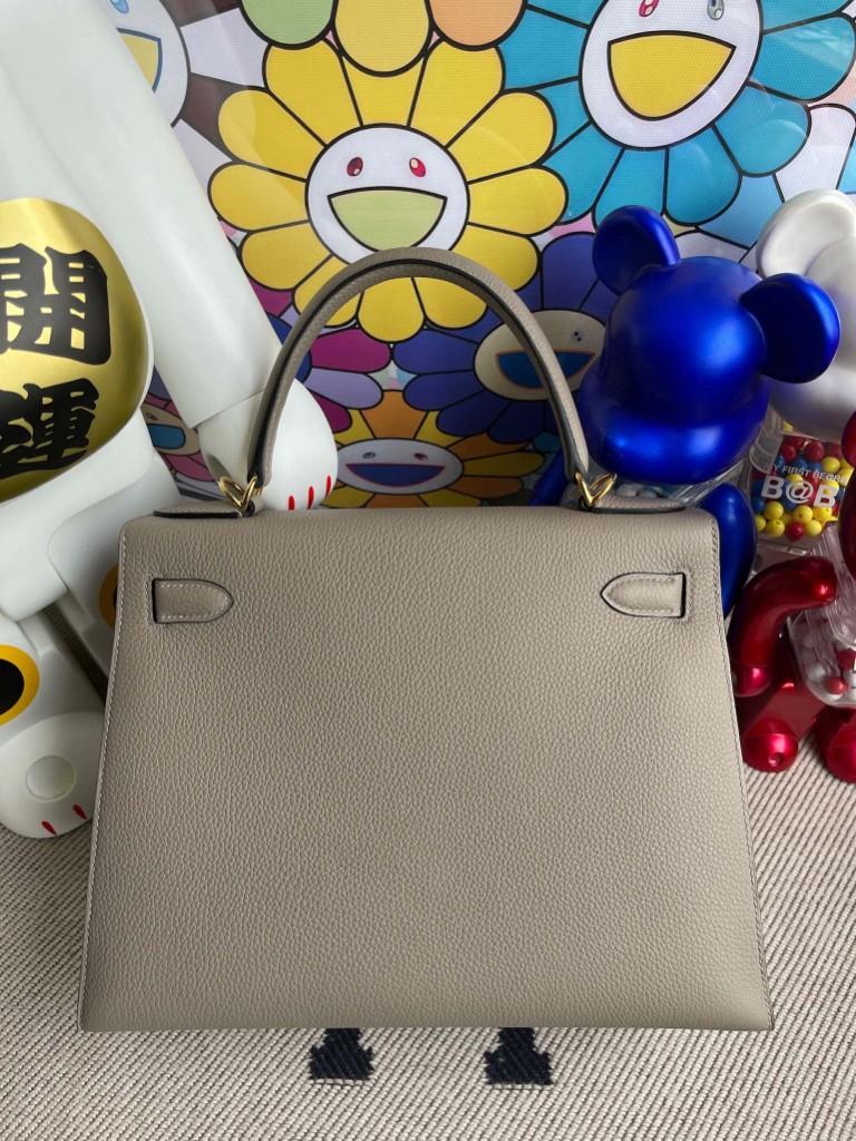 Hermès(爱马仕)Kelly 凯莉包 原厂小牛皮 togo M8 沥青灰 金扣 28cm 顶级手缝