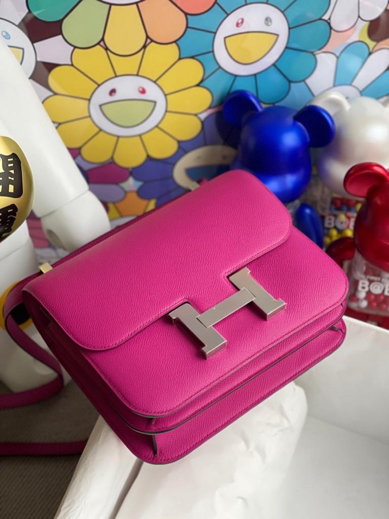 Hermès(爱马仕)Constance 空姐包 Epsom 原厂掌纹皮 L3 玫瑰紫 rose purple 银扣 24cm  现货