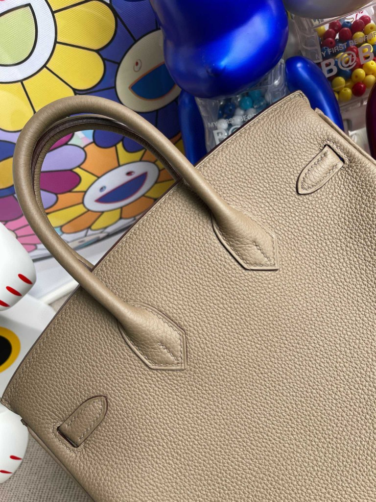 Hermès(爱马仕)Birkin 铂金包 原厂小牛皮 togo ck18 大象灰 内拼水妖蓝 银扣 25cm 顶级手缝