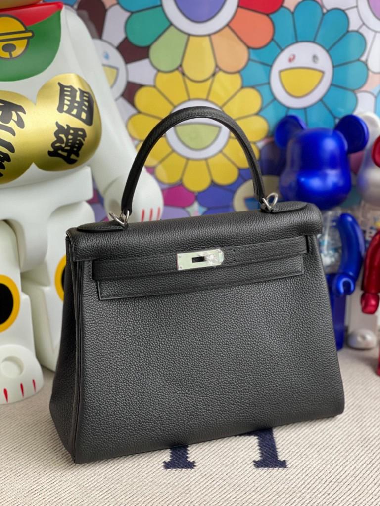 Hermès(爱马仕)Kelly 凯莉包 原厂小牛皮 Togo ck89 黑色 Noir 银扣 28cm 顶级手缝
