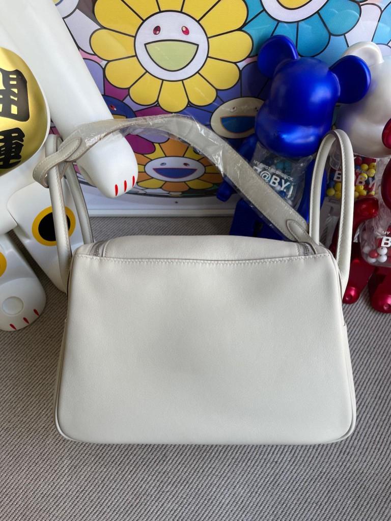 Hermès(爱马仕)Lindy 琳迪包 Swift nata 奶昔白 银扣 26cm 顶级手缝