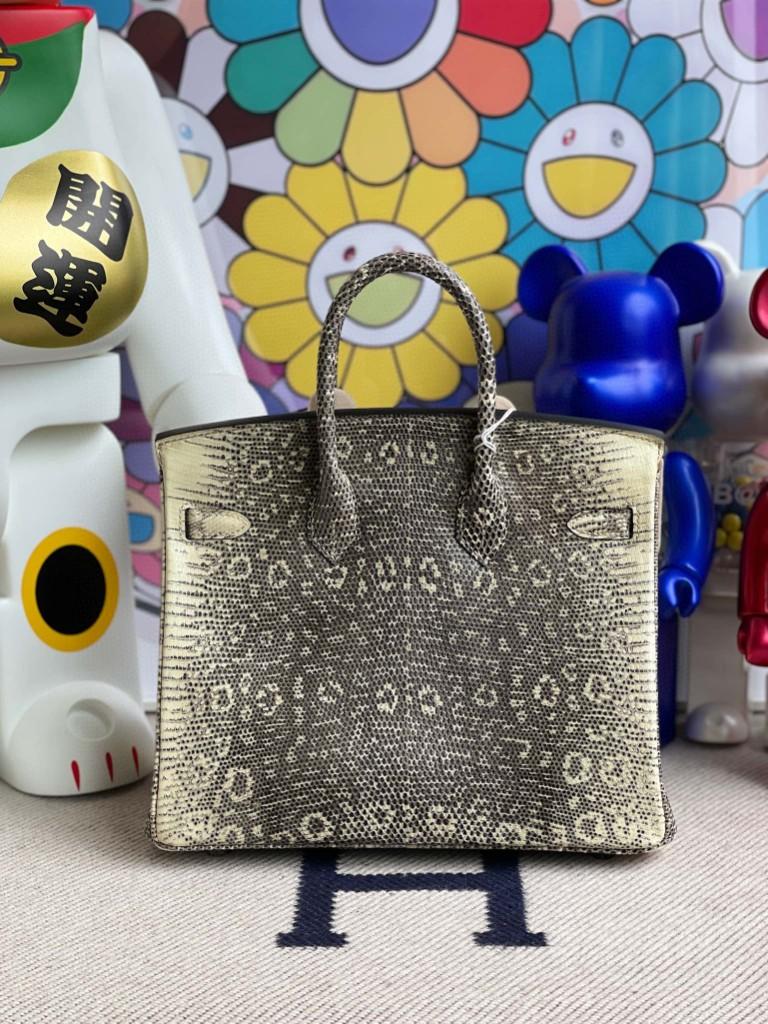 Hermès(爱马仕)Birkin 铂金包 Lizard 进口亮面蜥蜴 原色 小喜马拉雅色 银扣 25cm 顶级手缝