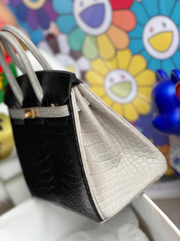 Hermès(爱马仕)Birkin 铂金包 Alligator 马蹄雾面鳄鱼 ck89 黑色 拼 ck80 珍珠灰 磨砂金扣 马蹄印 25cm